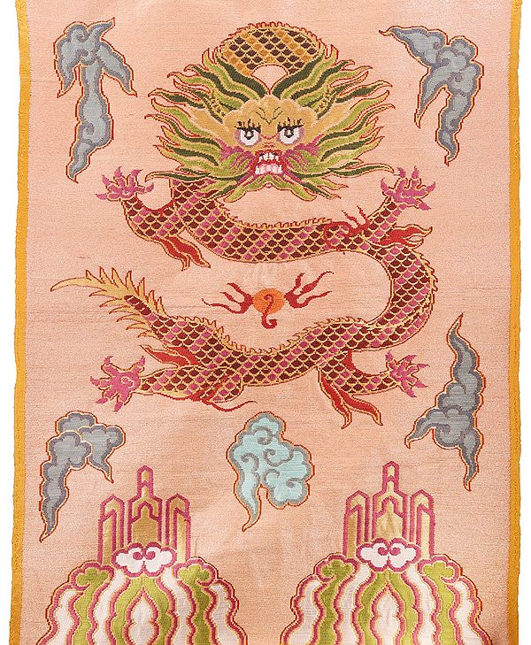 Frosted-Almond  Hand-woven Tibetan Dragon Brocade Patch from Banaras