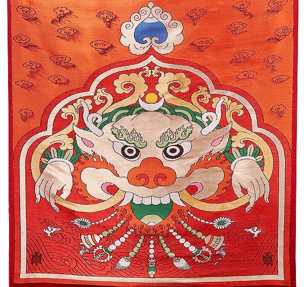 Karanda-Red Tibetan Motif Handloom Patch from the House of Kasim