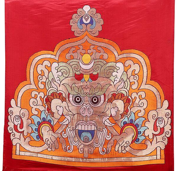 Tibetan Buddhist Symbol Wrathful Deity Handloom Patch from Banaras