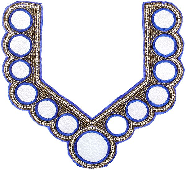 Zardozi Embroidered Neck Patch with Mirrors and Crystals
