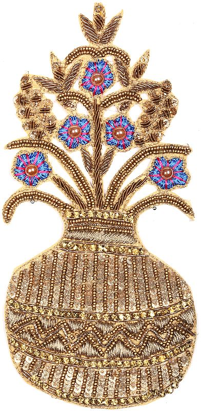 Zari-Embroidered Flower Pot Patch with Sequins and Beads
