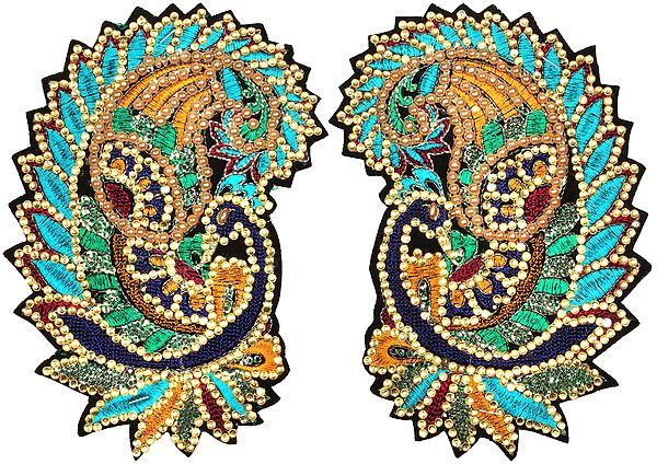 Pair of Embroidered Peacock Paisley Patches with Sequins