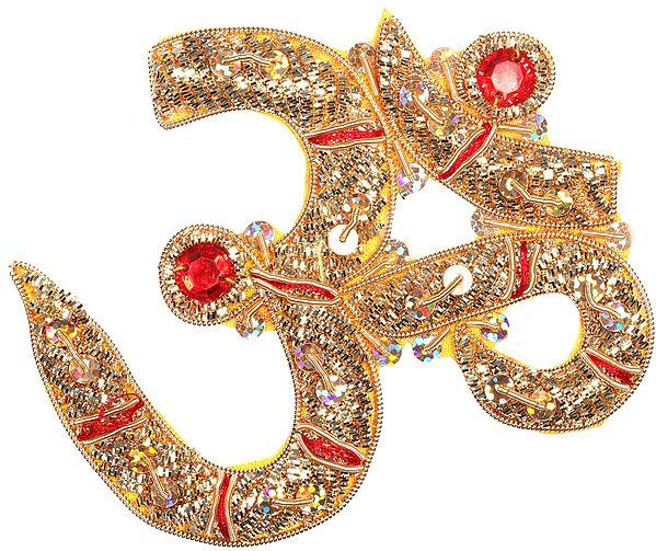 Pair of Golden Zardozi Auspicious Om (AUM) Patches with Sequins