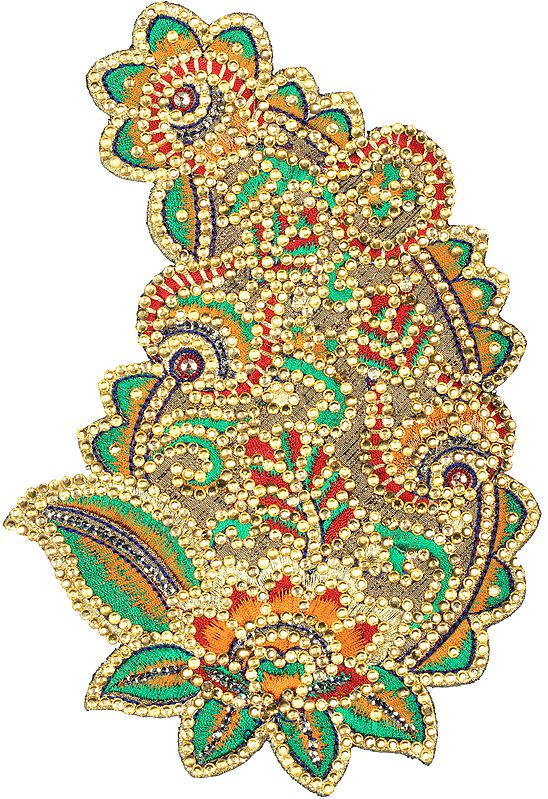 Multicolor Thread Embroidered Paisley Patch with Crystals and Sequins