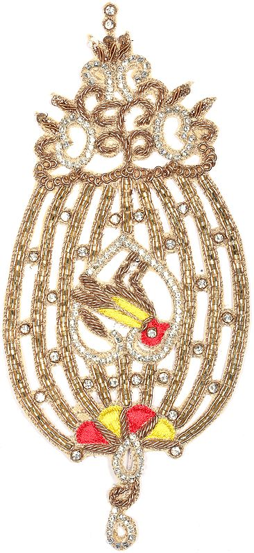 Zardosi Bird Cage Patch with Embellished Crystals