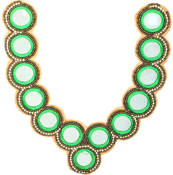Kelly Green Mirror Neck Patch with Studded Crystals and Beads