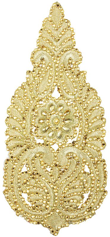 Zari Embroidered Floral Patch with Crystals and Stones