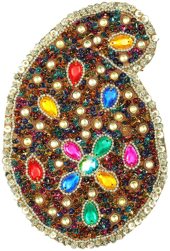 Multicolor Stones and Beads Studded Paisley Patch with Sequins All-Over