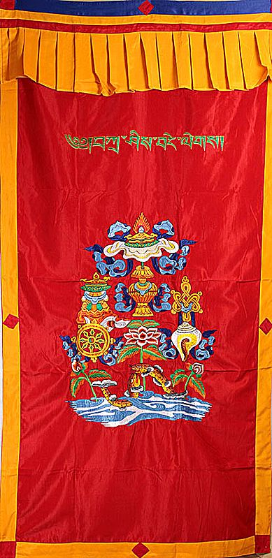 Embroidered Ashtamangala (Eight Auspicious Symbols of Buddhism, Tib. bkra shis rtags brgyad) with The Syllable Mantra - Tibetan Altar Curtain with Hanging Brocade Atop