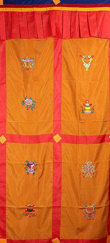 Tibetan Buddhist Altar Curtain with  Embroidered Ashtamangala (Eight Auspicious Symbols of Buddhism, Tib. bkra shis rtags brgyad)