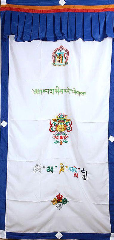 Embroidered Ashtamangala (Eight Auspicious Symbols of Buddhism, Tib. bkra shis rtags brgyad) with the Syllables Kalachakra Mantra and Om Mani Padme Hum - Tibetan Altar Curtain