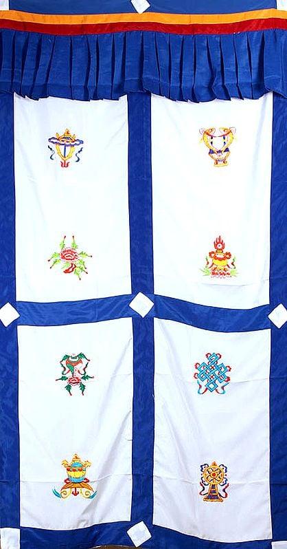Embroidered Ashtamangala (Eight Auspicious Symbols of Buddhism, Tib. bkra shis rtags brgyad) - Tibetan Altar Curtain