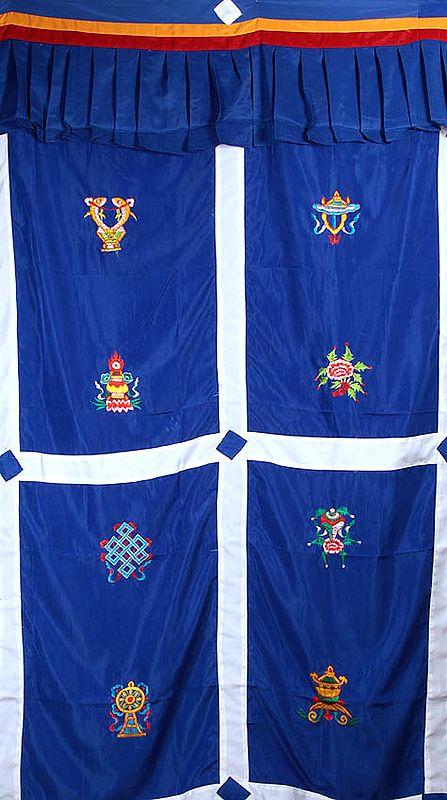 Ashtamangala (Eight Auspicious Symbols of Buddhism, Tib. bkra shis rtags brgyad) - Tibetan Altar Curtain with Hanging Cloth Atop
