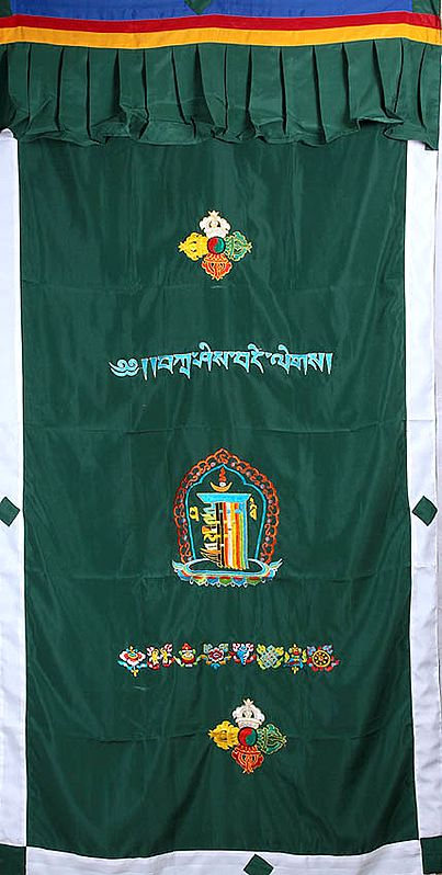 Embroidered Vishva Vajra, Syllables Om Mani Padme Hum with Kalachakra Mantra and Ashtamangala (Eight Auspicious Symbols of Buddhism, Tib. bkra shis rtags brgyad) - - Tibetan Altar Curtain