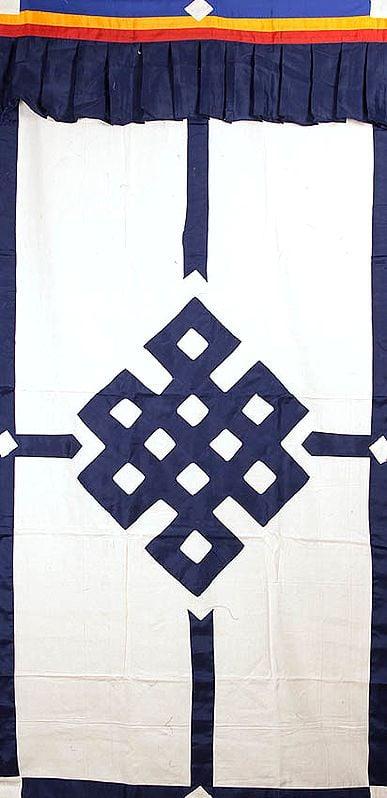 The Endless Knot (Ashtamangala) - Tibetan Buddhist Altar Curtain