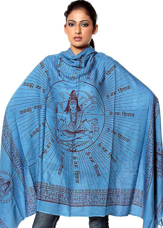 Azure-Blue Meditating Shiva Prayer Shawl