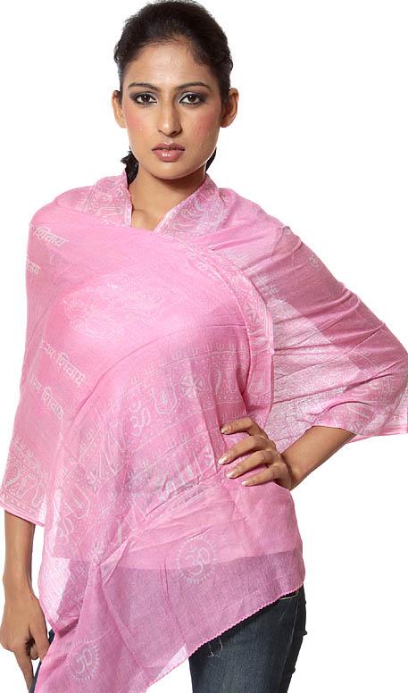 Pink Om Namah Shivai Scarf