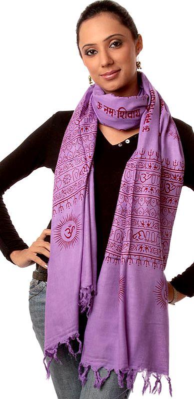 Purple Om Namah Shivai Prayer Shawl
