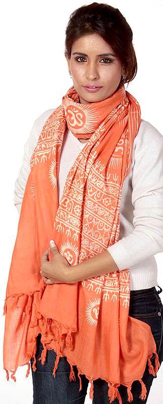 Orange Sanatana Dhrama Prayer Shawl with Printed Om