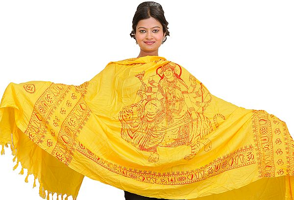 Cyber-Yellow Printed Durga Ma Prayer Shawl