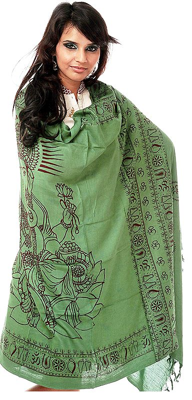 Green Printed Ganesha Prayer Shawl