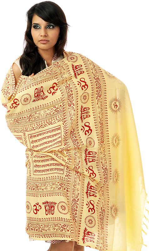 Powder-Yellow Prayer Shawl with Printed Sri Ram Jai Ram Jai Jai Ram Mantra