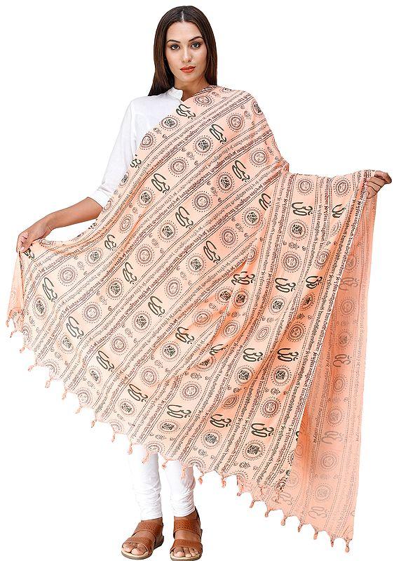 Om Prayer Shawl with Printed Gayatri Mantra