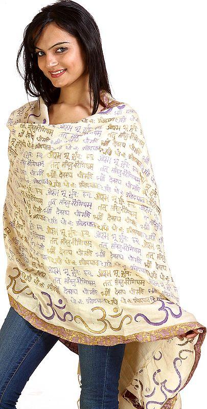 Om Gayatri Mantra Prayer Shawl