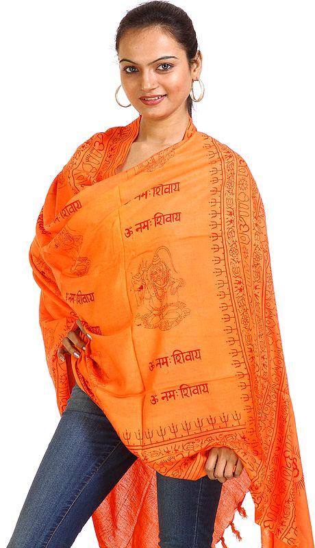 Orange Om Namah Shivai Shawl with Printed Shiva Figures
