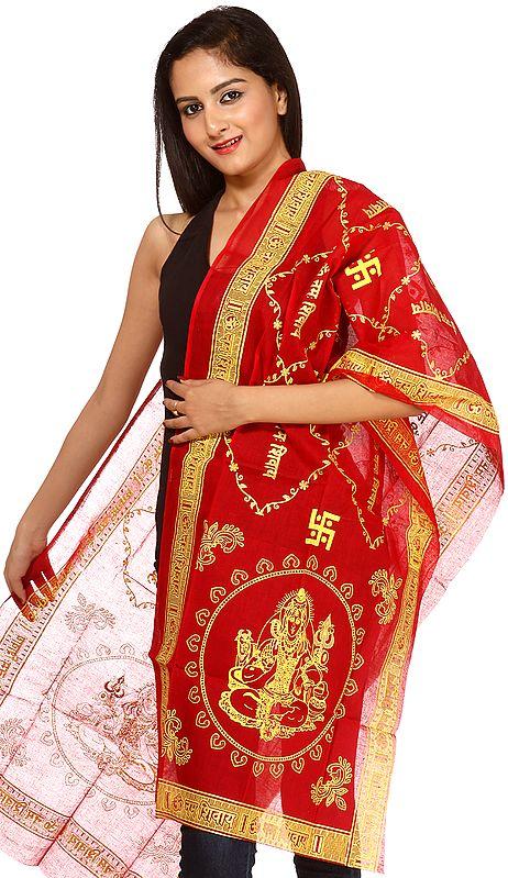 Tango-Red Om Namah Shivai Prayer Scarf
