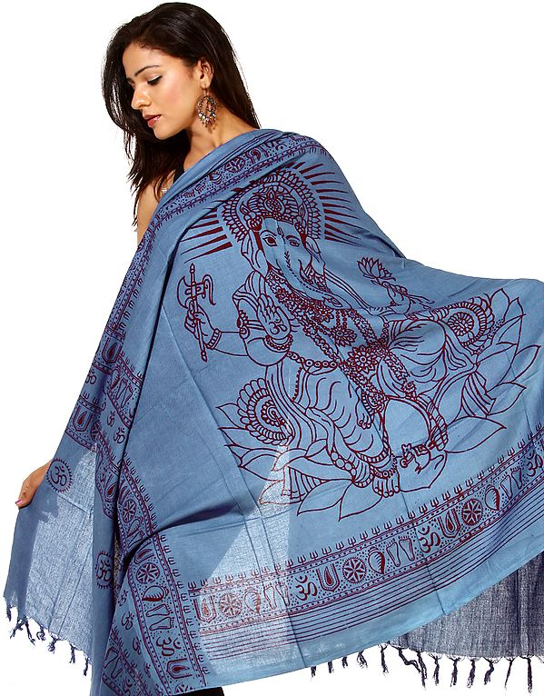 Royal-Blue Printed Ganesha Prayer Shawl