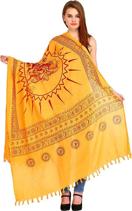 Pale-Marigold Hindu Prayer Shawl of Goddess Durga