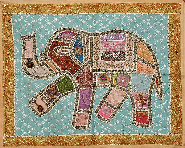 Patchwork Elephant Gujarati Wall Hanging with Embroidered Beads and Sequins