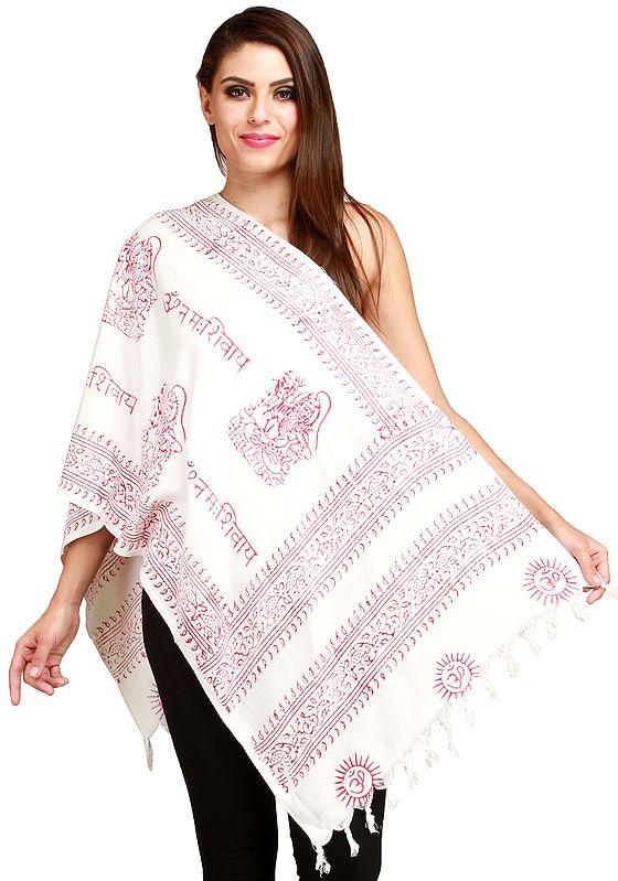 Pristine-White Om Namah Shivai Prayer Scarf