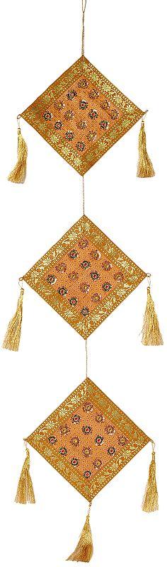 Golden Banarasi Bandhanwar for the Doorstep with Beaded Flowers