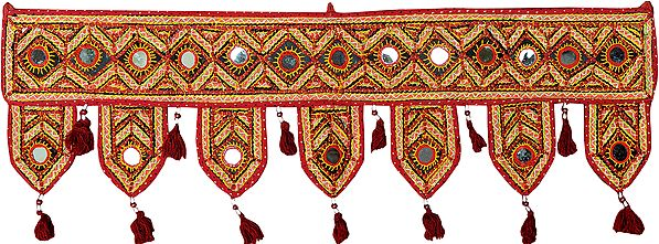 Rio-Red Toran for the Doorstep with Embroidered Large Mirrors