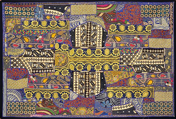 Densely Embroidered Wall Hanging from Kutch with Beadwork and Mirrors