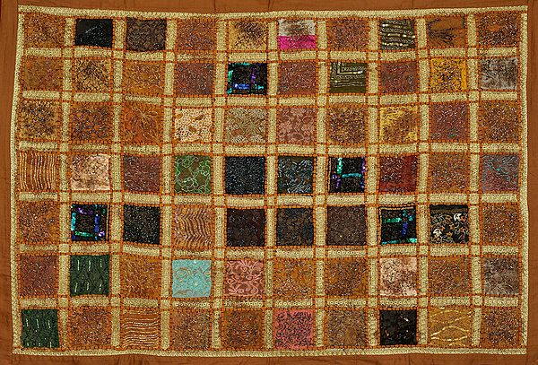 Almond-Brown Wall Hanging from Kutch with Dense Beads-Embroidery All-Over