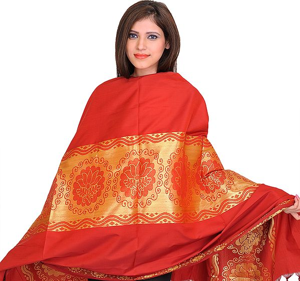 Cardinal-Red Brocaded Shawl from Tamil Nadu with Auspicious Lotuses