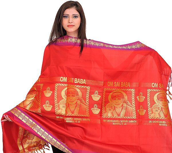 Rococco-Red Om Sai Baba Brocaded Shawl from Tamil Nadu