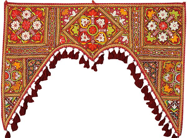 Cordovan-Red Toran for the Doorstep from Kutch with Floral Hand-Embroidery and Mirrors