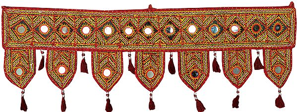 Tibetan-Red Toran for the Doorstep from Kutch with Embroidered Large Mirrors