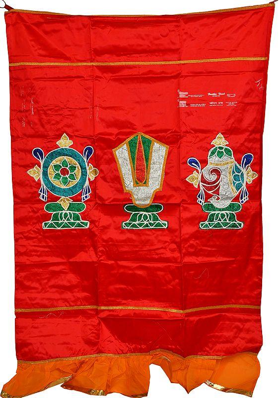 Tango-Red Auspicious Temple Curtain with Vaishnava Symbols Applique