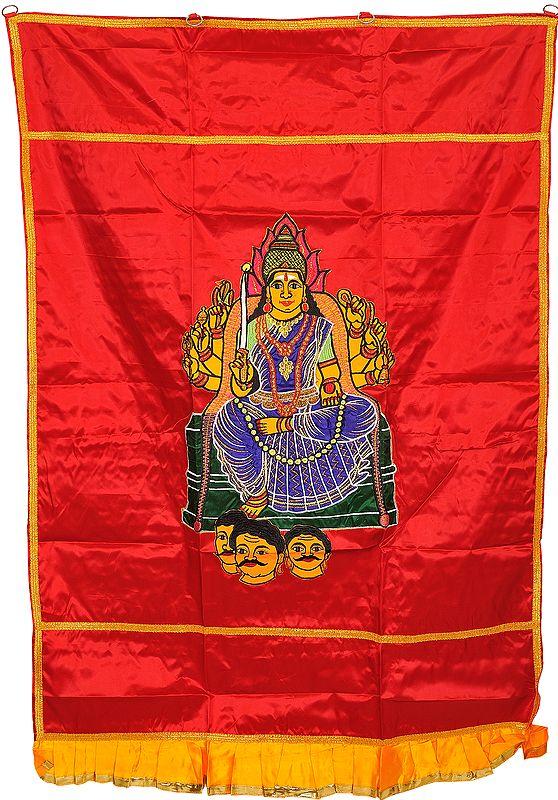 Poinsettia-Red Auspicious Temple Curtain with Samayapuram Devi Mariamman Applique