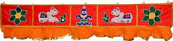Red and Orange Auspicious Toran for the Doorstep with Shiva Linga and Nandi