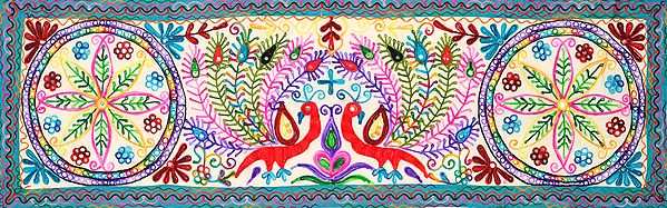 Multi-colored Embroidered Wall Hanging with Peacock Pair and Mirrors