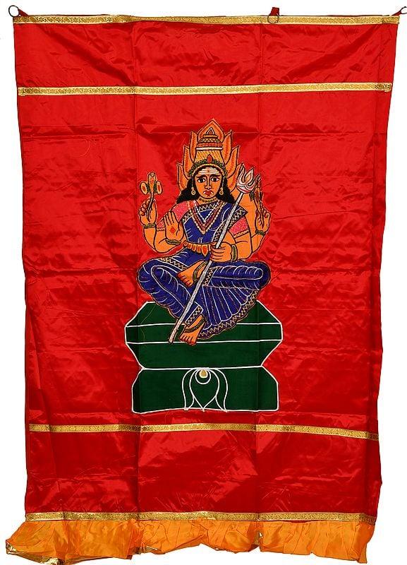Scarlet-Red Goddess Angalamman Auspicious Temple Curtain