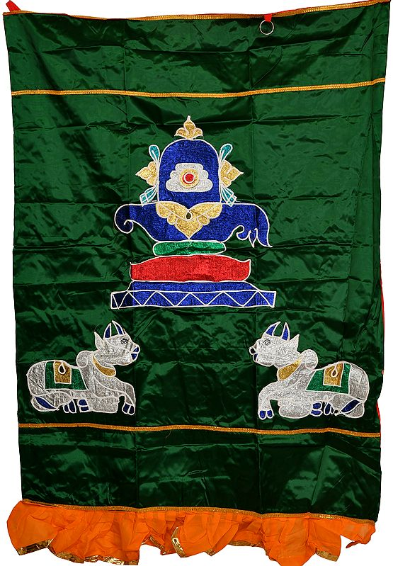 Verdant-Green Auspicious Temple Curtain with Shiva Linga and Nandi in Applique