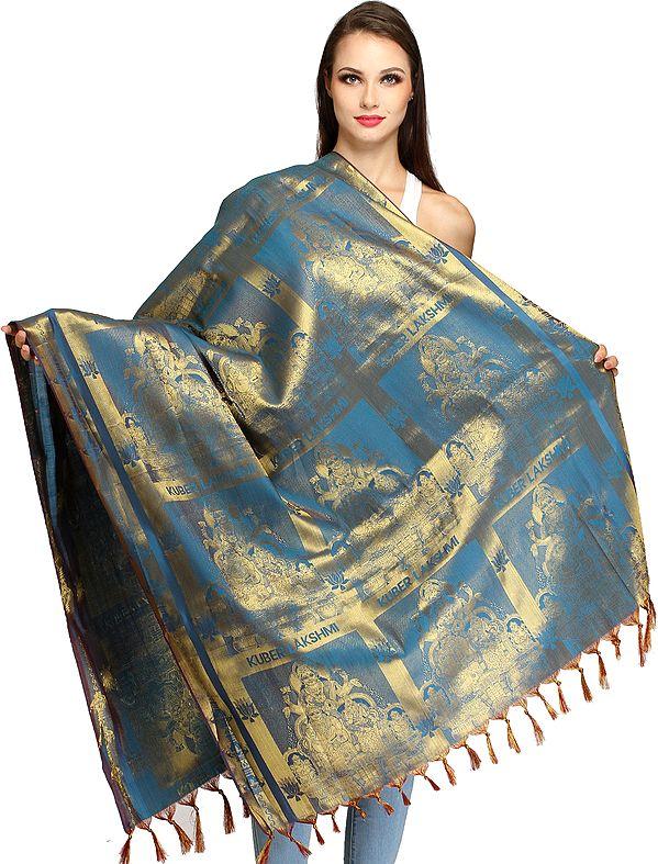 Blue-Moon Kuber Lakshmi Brocaded Shawl from Tamil Nadu