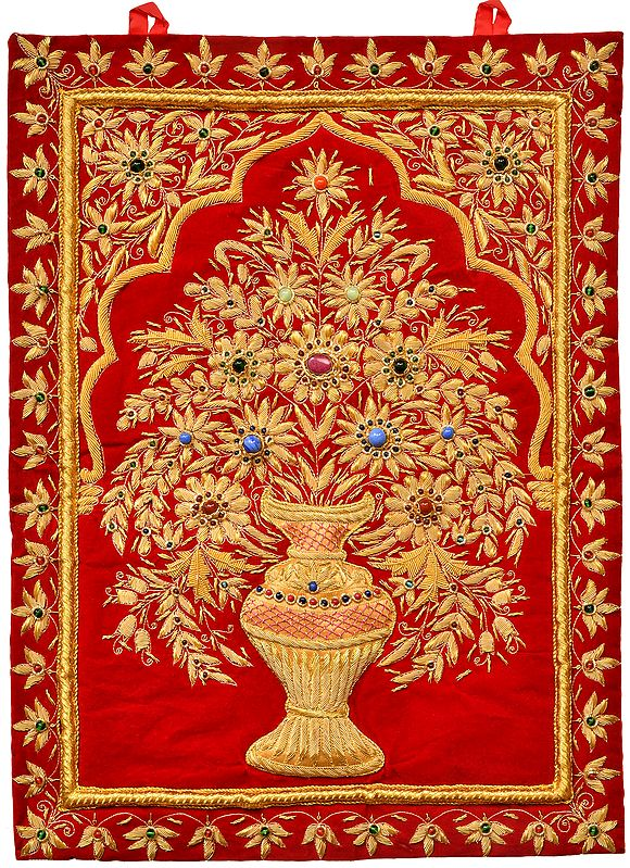 Jester-Red Handcrafted Decorative Jewel Wall Hanging with Intricate Zardozi Hand-Embroidered Flower Pot